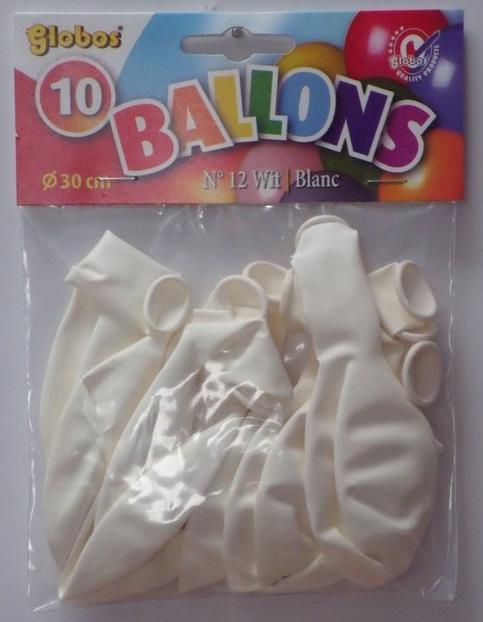 10 Witte balonnen in zak