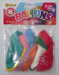 8 x Cijferballonnen Nr. 3       8711194022243