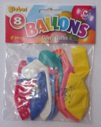 8 x Cijferballonnen Nr. 4       8711194022250