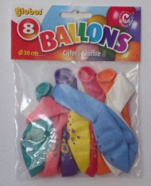 8 x Cijferballonnen Nr. 6       8711194022274