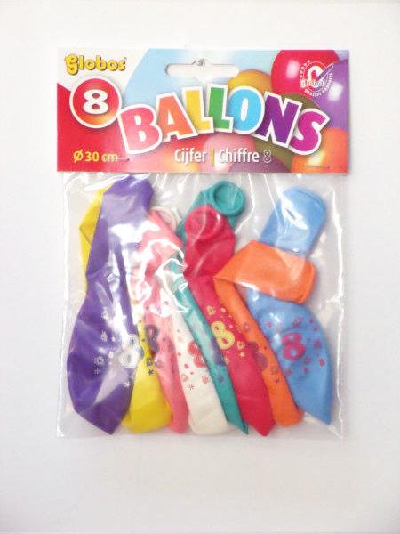 8 cijferballonnen nr. 9 2230