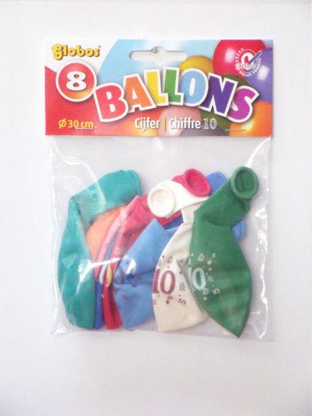 8 cijferballonnen nr. 10 2172