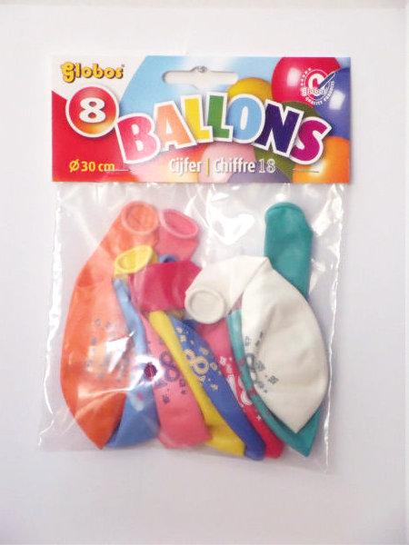 8 cijferballonnen nr. 18 2192