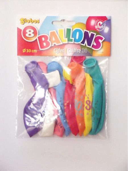 8 cijferballonnen nr. 30 2174