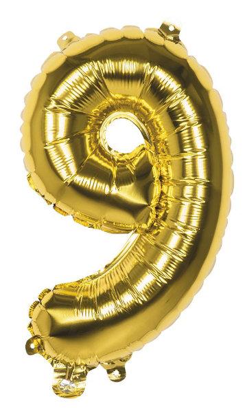 Folieballon 9 goud 22009