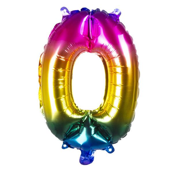 Folieballon 0 regenboog 21980
