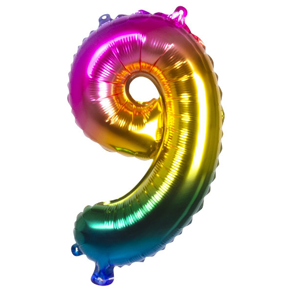 Folieballon 9 regenboog 21989