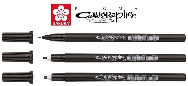 Sakura kalligrafie set van 3 pen in etui
