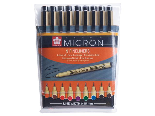 9 kleuren pigma micron 05 in etui