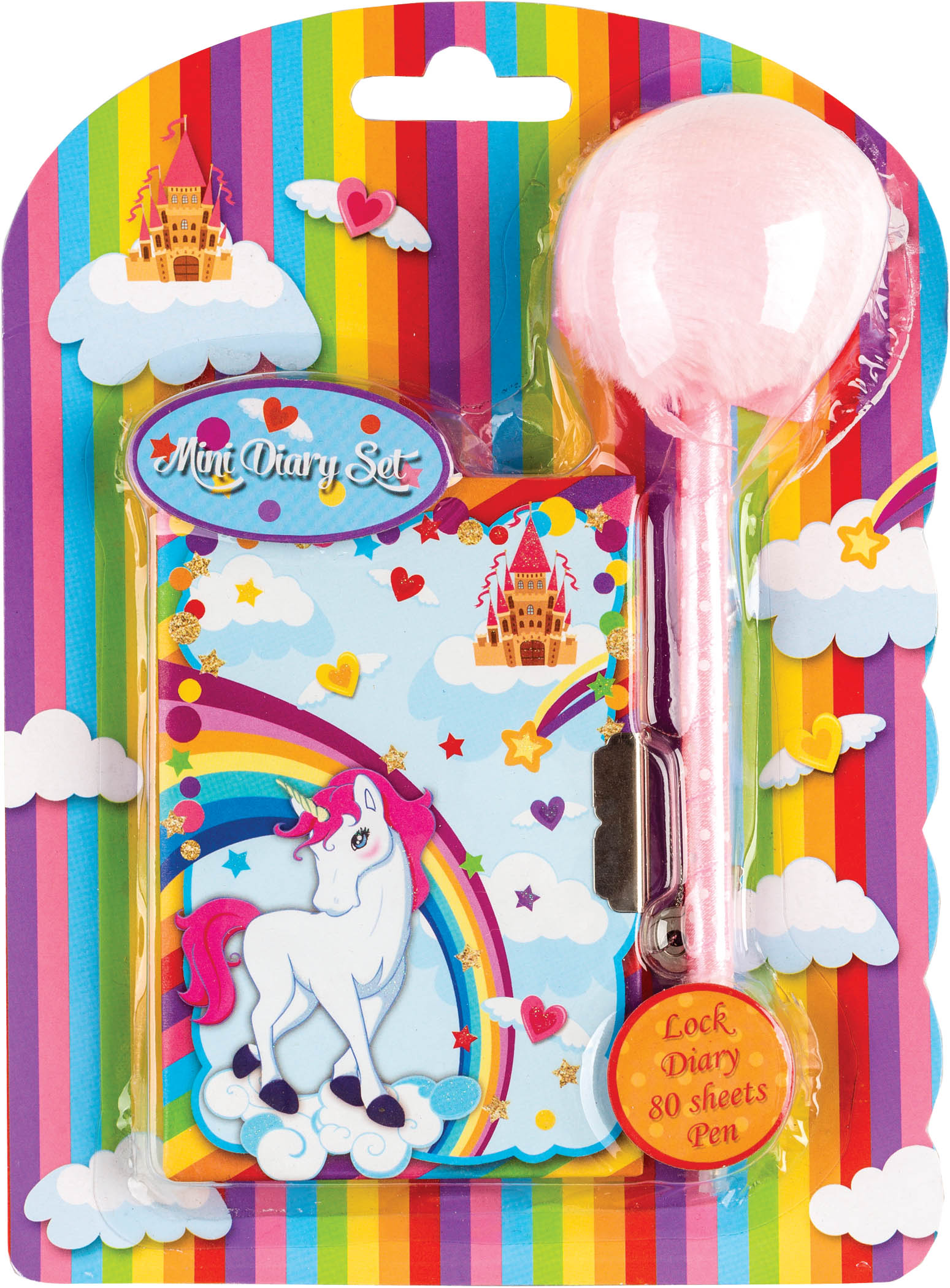 Dagboek met pompom pen unicorn 80417