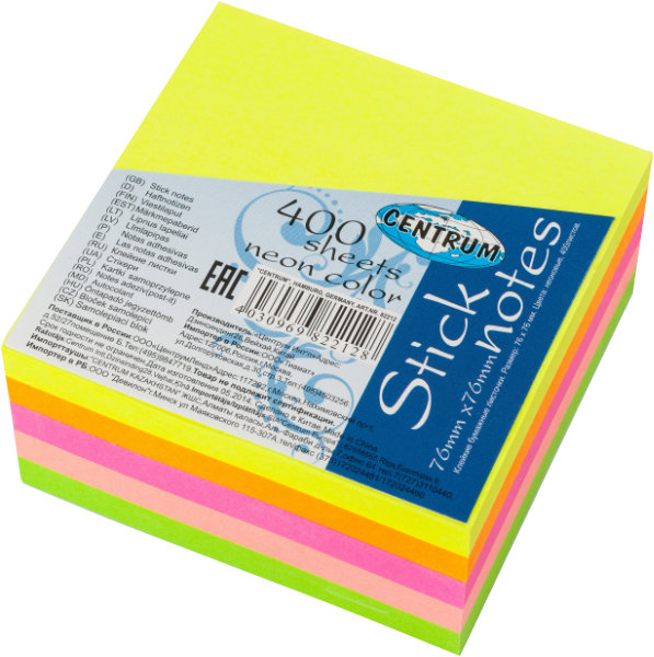 Stick notes neon 400 vel 76x76mm 82212