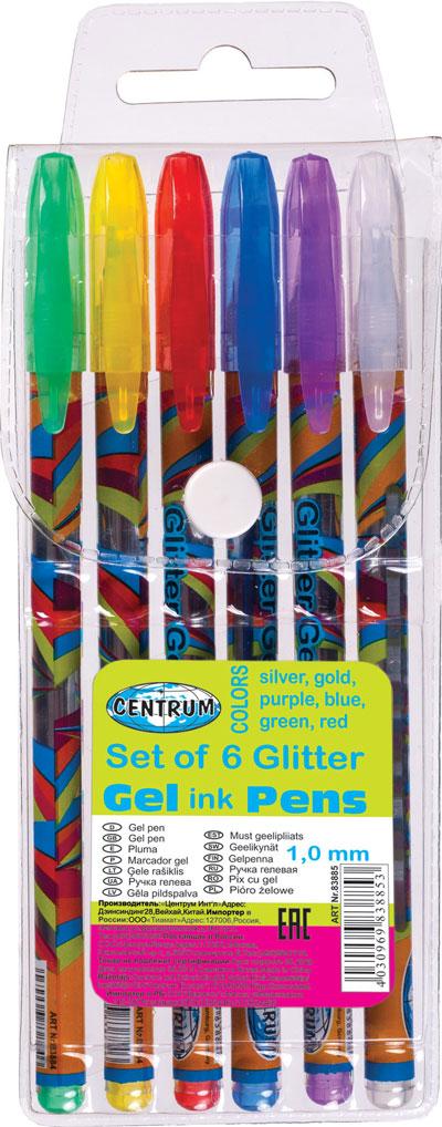 6 glitter gelpen in etui Centrum 83885