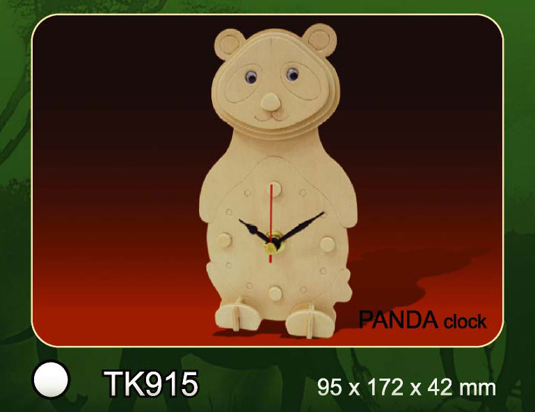 Bouwpakket houten klok panda 915