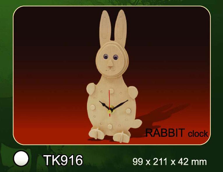 Bouwpakket houten klok konijn 916