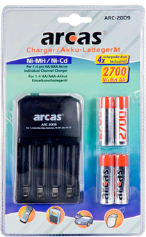 Oplader + 4 oplaadbare batterij arcas
