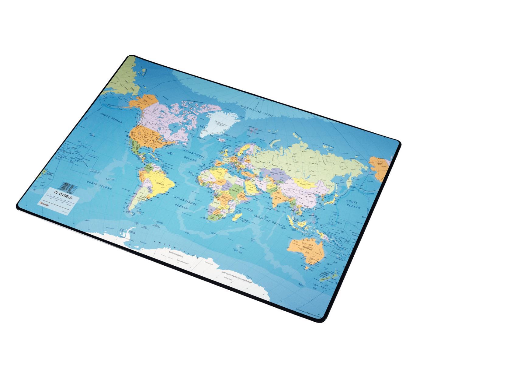 Bureau onderlegger wereldkaart 40x53cm E
