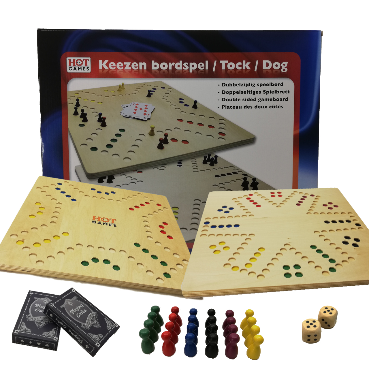 Keezen bordspel hout in doos 791210