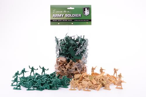 100 Soldaten In Zak 4-5 cm 26172