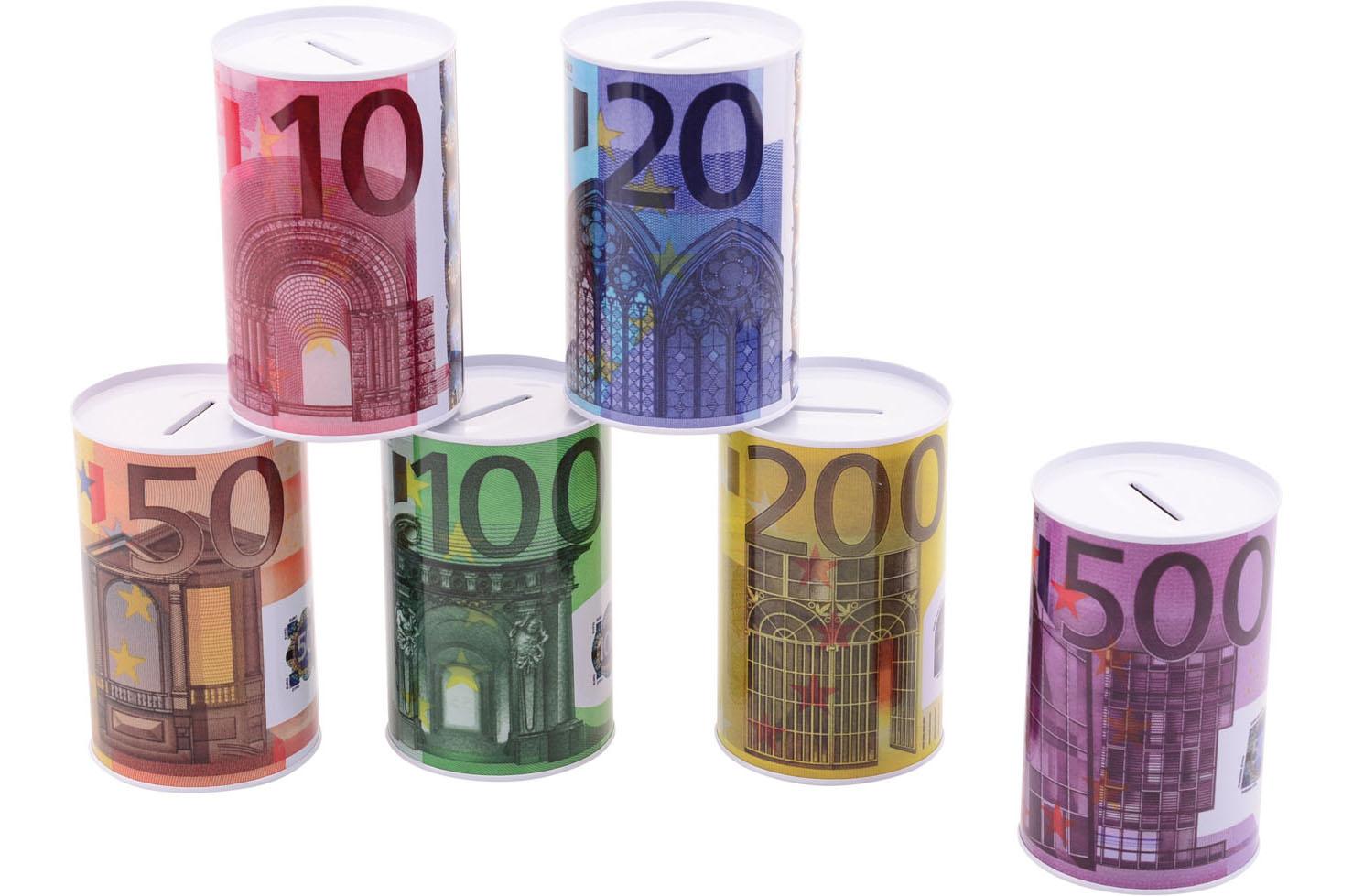 Metalen spaarpot eurobiljet print 28165