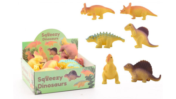 18 squeezy dinosaurus in display 24332