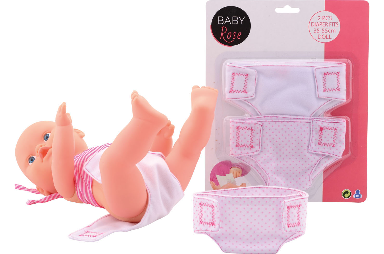 Baby rose 2 stoffen luiers 27593