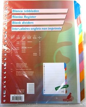 Tabbladen karton met 10 geplastificeerde