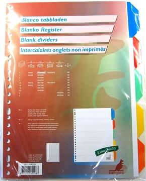 Tabbladen karton met 5 geplastificeerde