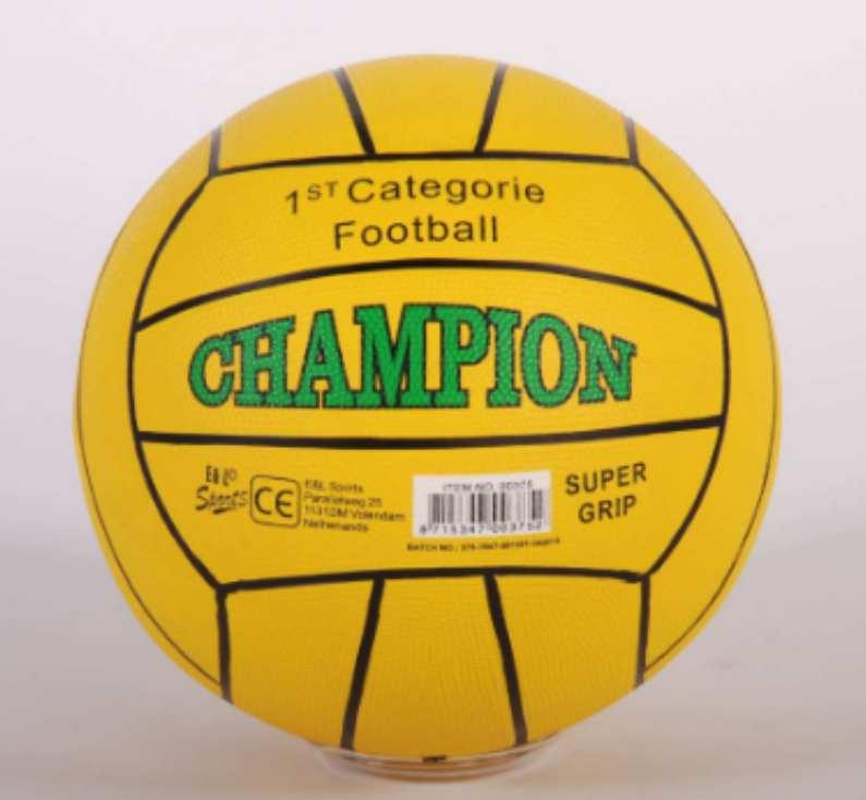 Rubberen voetbal Champion 380 gram geel