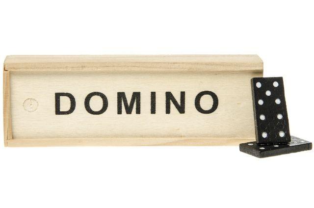 Domino spel in houten kistje