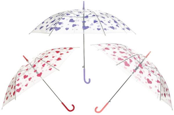Paraplu hart transp. 50cm 3 ass. 5081