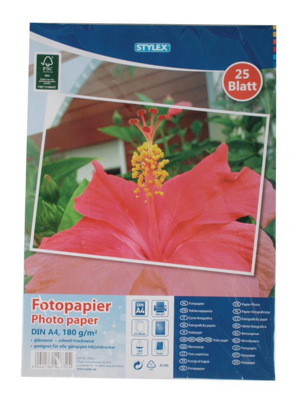 25 vel fotopapier A4 180 g/m3 40832