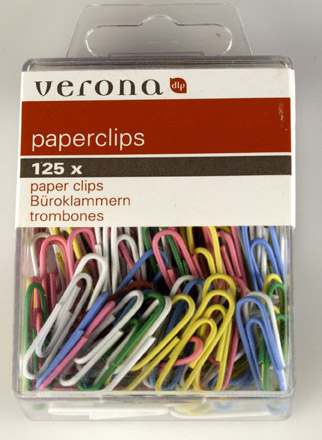 125 paperclips 26 mm gekleurd 1225