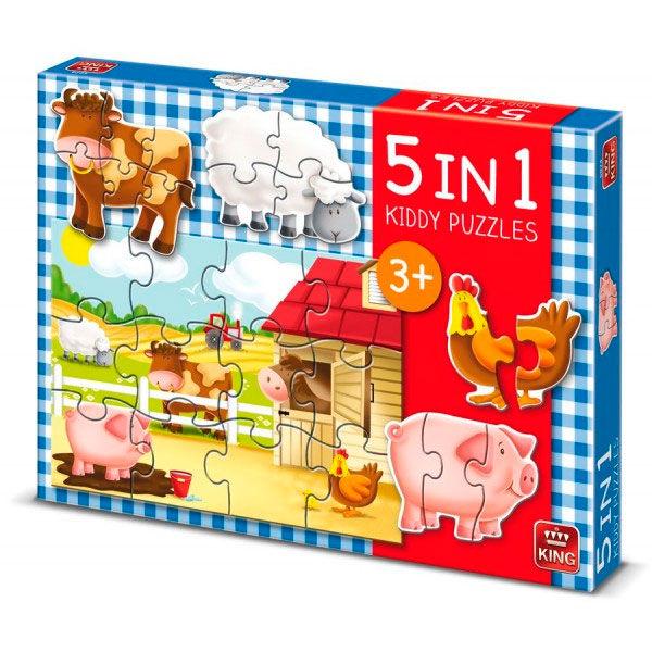 King 5 in 1 kiddy puzzel boerderij 5074