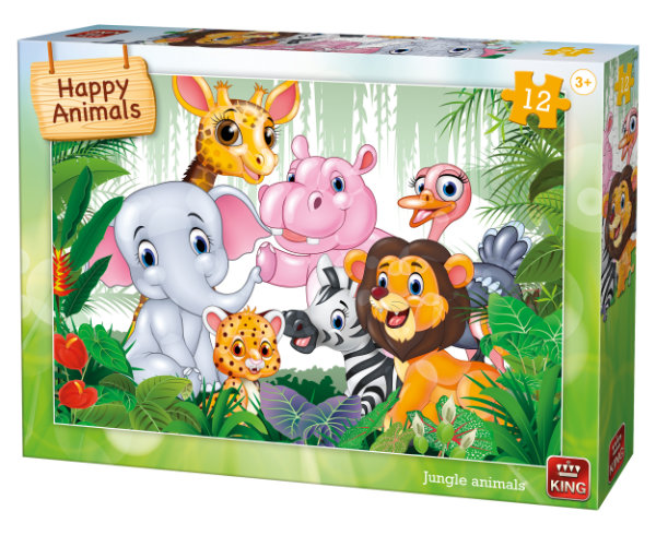 Puzzel 12 st. jungle animals 05781