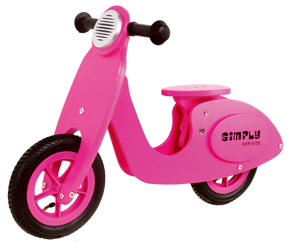 Loopscooter hout roze