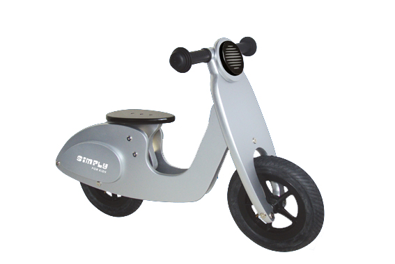 Loopscooter hout sparkling silver