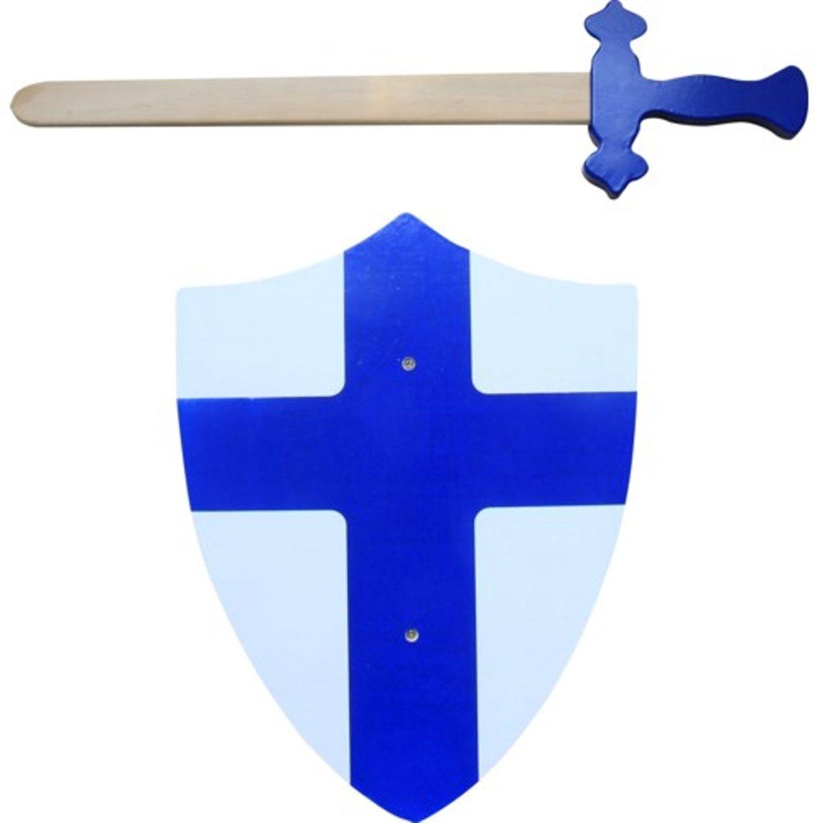 Zwaard met schild blauw 37154