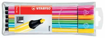 6 stabilo neon 68 stift in etui 6806-1