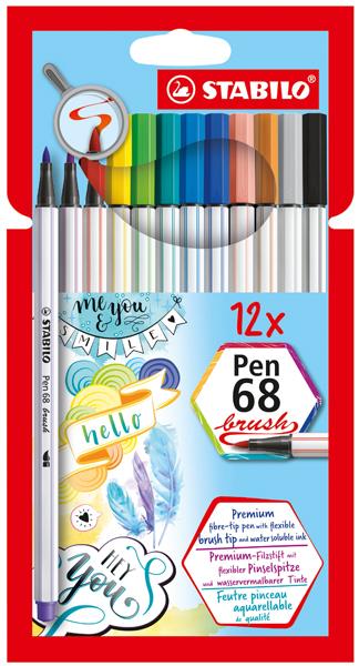 Stabilo 12 pen 68 brush in etui 568/12-2