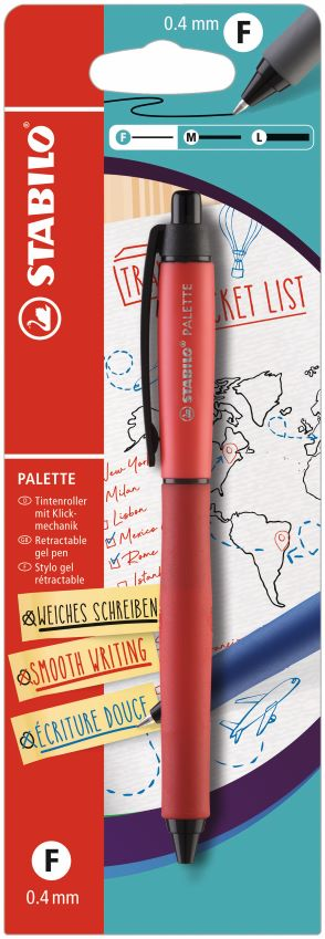 10 Stabilo Palette rollerball rood blist