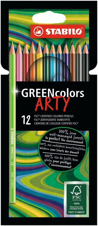 12 Stabilo ARTY greencolors kleurpotlood