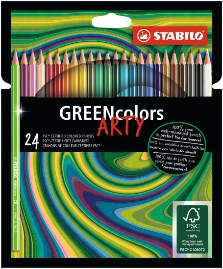 24 Stabilo ARTY greencolors kleurpotlood