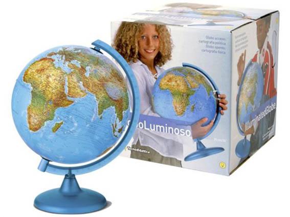 Wereldbol met verlichting diameter 25cm
