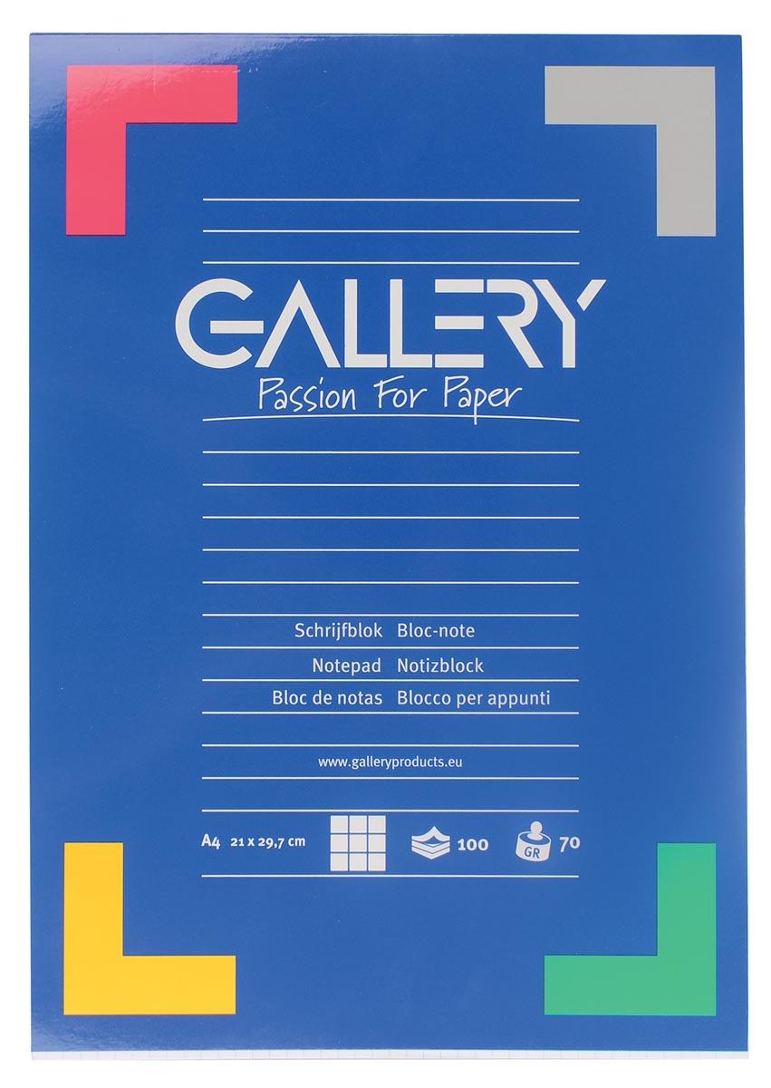 Schrijfblok Gallery A4 100 vel ruit 5mm