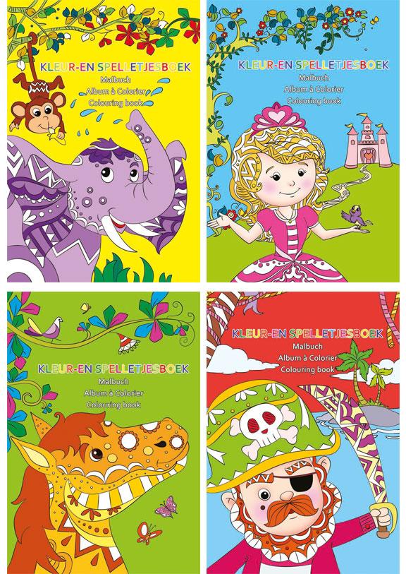 24 mini kleurboek 11x15 cm 4 assorti