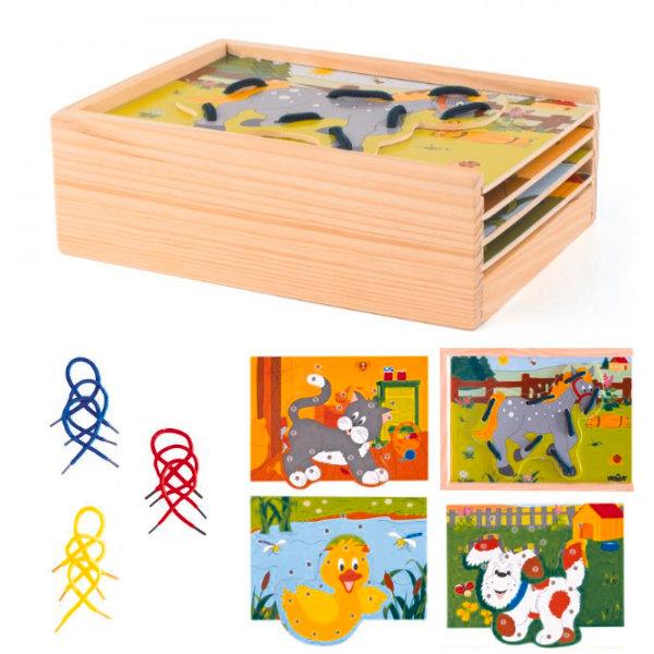Woody box dieren rijgen met veters 80920