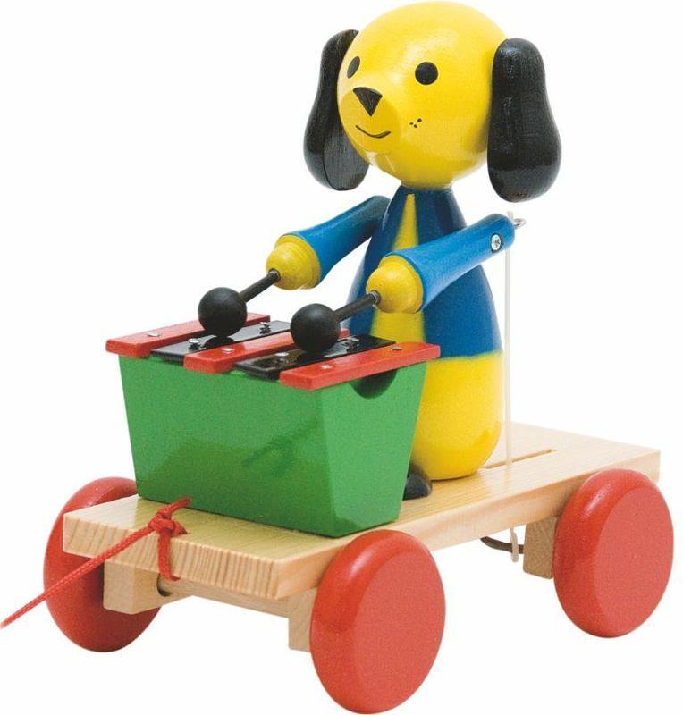 Woody houten trekhond met xylofoon 90202
