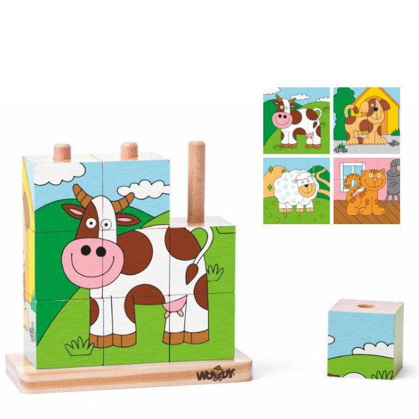 Woody kubuspuzzel dieren 93055