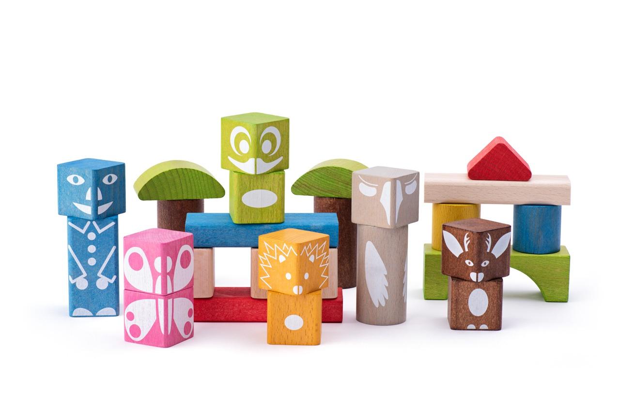 Woody 26 houten blokken met print 90912