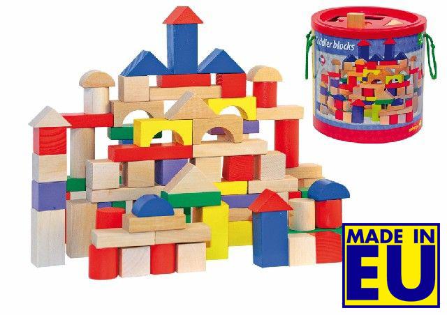 100 houten bouwblokken blank/gekl.in ton